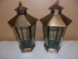 Pair of Copper Candle Lanterns w/ Beveled Glass