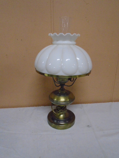 Electrified Brass Oil Lamp