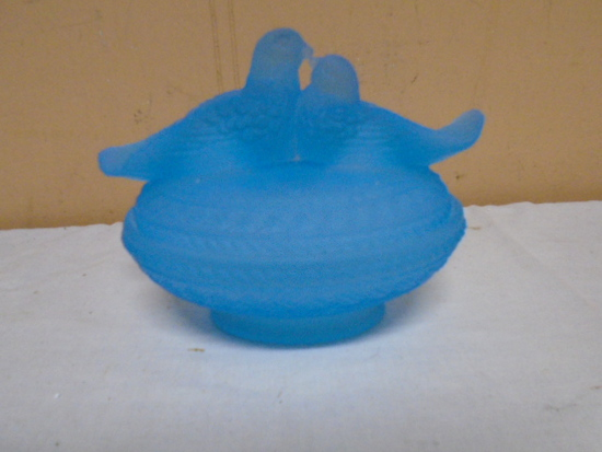Blue Satin Glass Doves on Nest Candy Dish