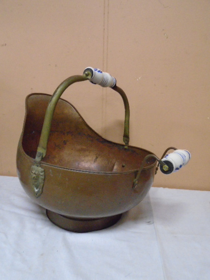 Large Copper Coal Scuttle w/ Porcelain Handles