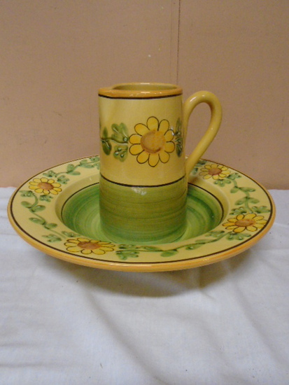 "Marketplace ""Sunflower"" Pitcher and Bowl"