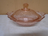 Covered Pink Depression Glass Bowl