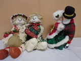 2 Christmas Bunny's amd Dancing Mr. and Mrs. Claus