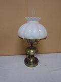 Electrified Brass Oil Lamp