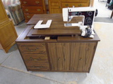 7 Drawer Double Door Rolling Sewing Cabinet w/ JC Penny Sewing Machine