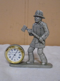 Pewter Firefighter Clock