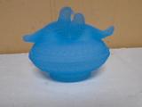 Blue Satin Glass Doves on Nest Candy Dish