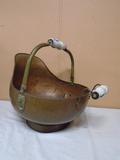 Large Copper Coal Scuttle w/ Porcelain Handles