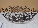 Large Metal Art Leaf Bowl