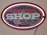 Dad's Hot Rod Shop Lighted Sign