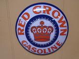 Red Crown Gasoline Round Metal Button Sign