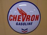 Chevron Gasoline Metal Button Sign