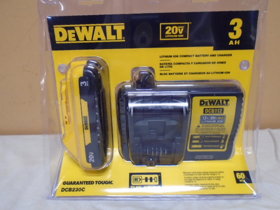 Brand New Dewalt 20 Volt Max Lithium Ion Battery and Charger