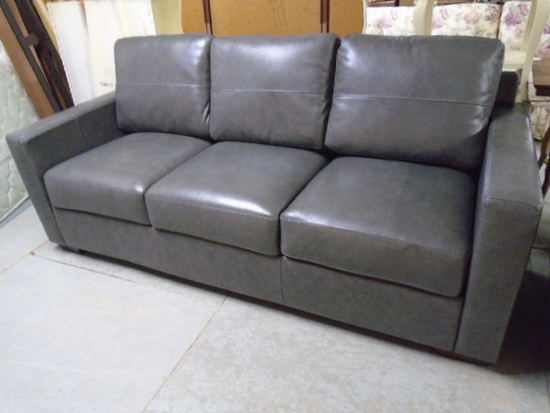 Beautiful Gray Leather Sofa