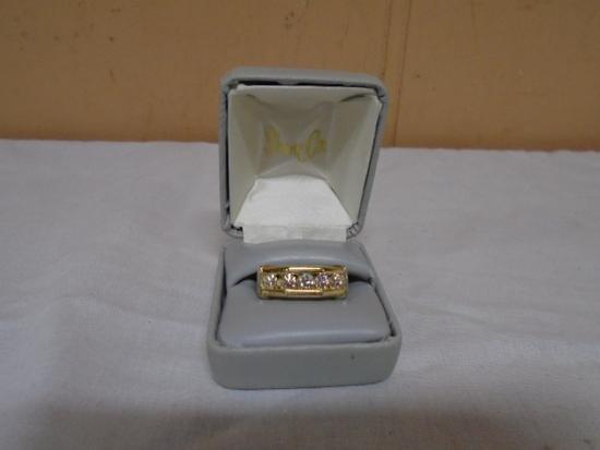 Mans 14kt Gold Ring-Size 9-18.4gm-(1).33kt Diamond- 4 Surrounding Diamonds (Total Weight 1.02kt)- Ap