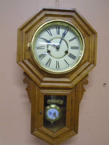 Regulator A Oak Case Wind Up Wall Clock w/ Key