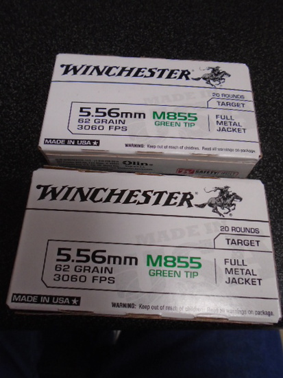 Winchester (2) 20 Round Boxes of 5.56 MM