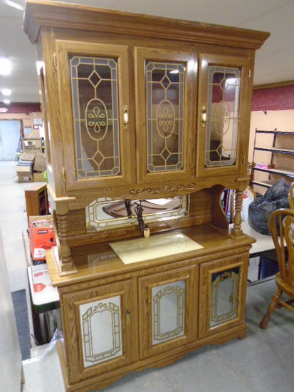 Beautiful 2 Pc. Double Lighted Glass Front Hutch