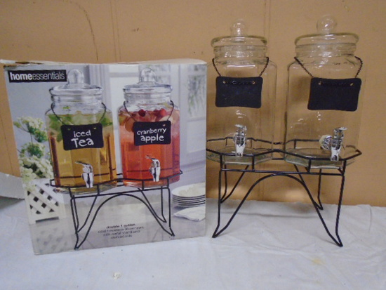 Double 1 Gallon Glass Drink Dispensers w/Iron Stand and Chalkboards