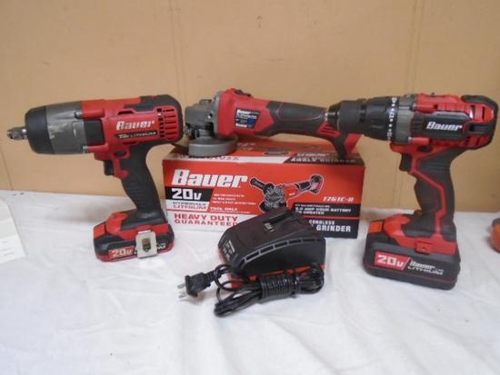 Bauer 3pc 20volt Cordless Tool Set (All Work Good)
