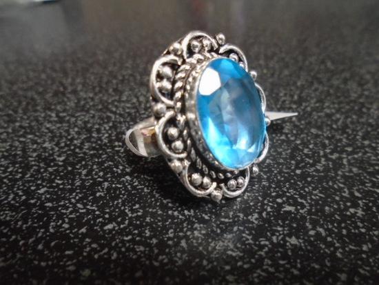 German Silver Blue Topaz Ring