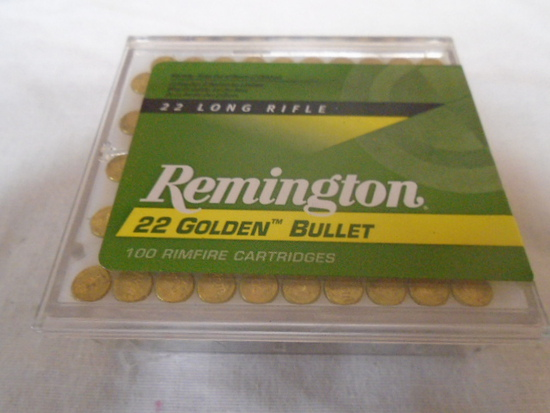 100 Round Box of Remington Golden 22 LR Rimfire Cartridges