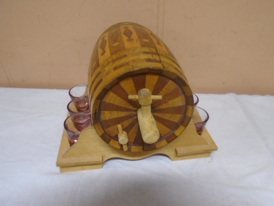 Wooden Inlayed Whiskey Decanter on Rack w/6 ShotGlasses