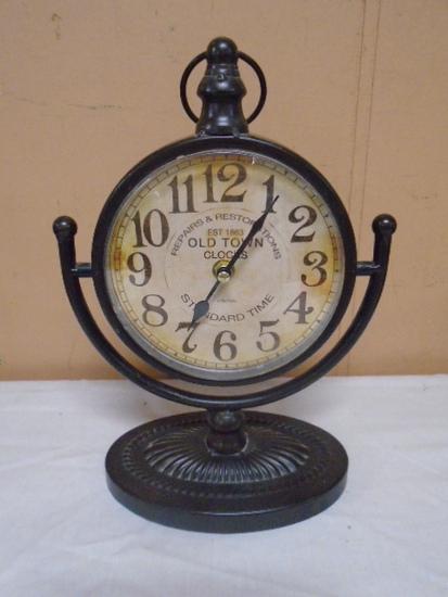 Old Town Clocks Metal Case Table Clock