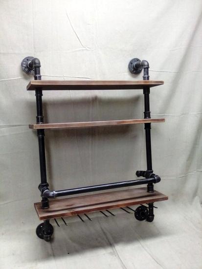 Industrial Pipeand Wood Wall Shelf