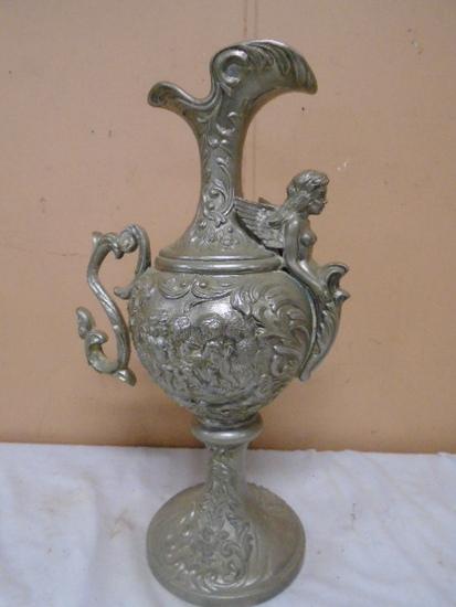 Large Ornate Metal Pitcher/Vase