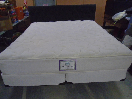 Beautiful Like New King Size Bed Complete w/ All White No-Flip Denver Mattress-Gray Tufted Headboard