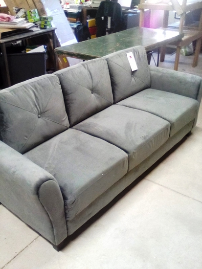 Lifestyles Grey Microfiber Sofa