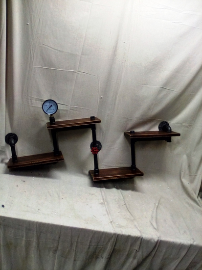 Pipe And Wood Wall Shelf