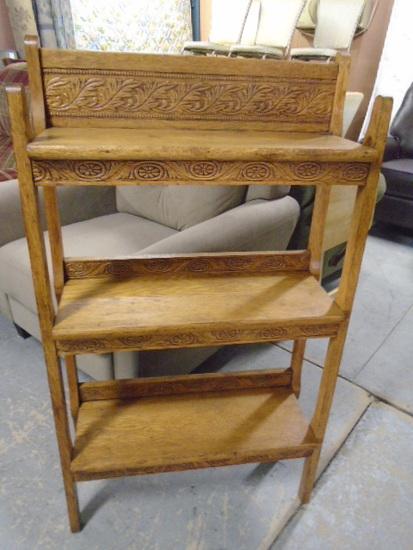 Antique Ornate Carved Oak Bookcase