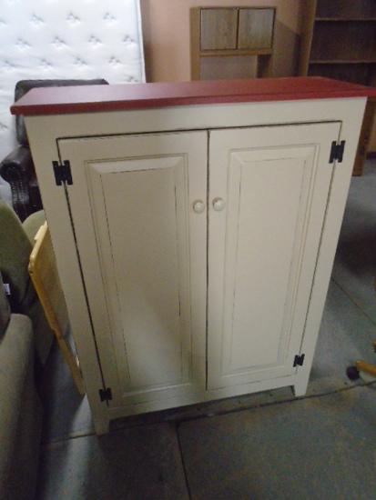 Painted Double Door Jelly Cabinet w/ Shelves