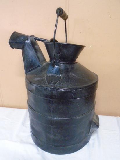 Antique Metal Can w/ Spout & Wood Handle Bale