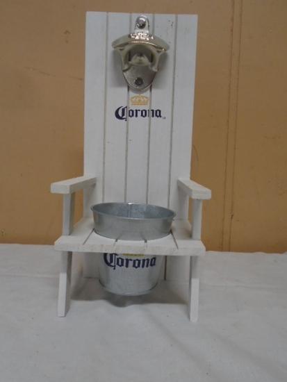 Corona Wooden Beach Chair w/ Bottle Opener & Metal Cap Catcher