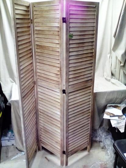 Milton Wood 3 Panel Room Divider
