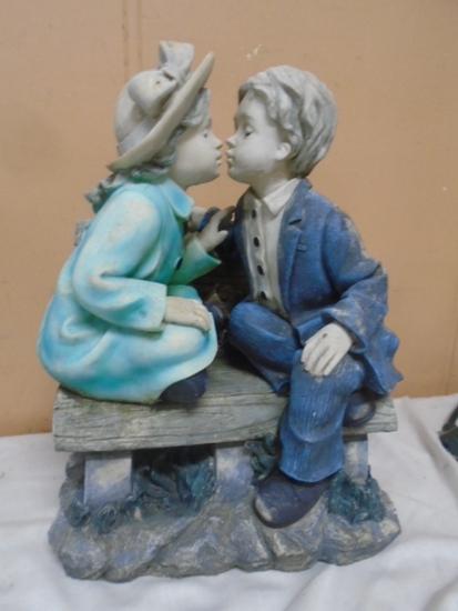 Kissing Boy & Girl on Bench Garden Statue