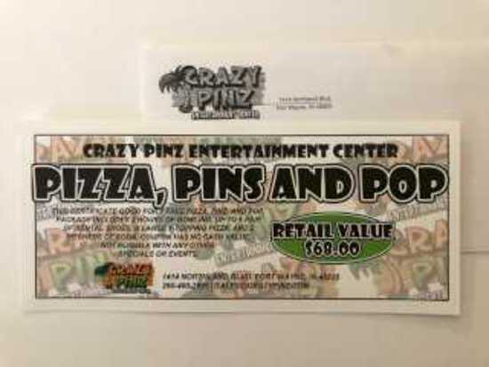 Pizza-Pins and Pop-Donated by Crazy Pinz-$68 Value
