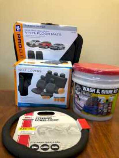 Wash and Shine Kit, Seat Covers,Floor Mats and Steering Wheel Cover