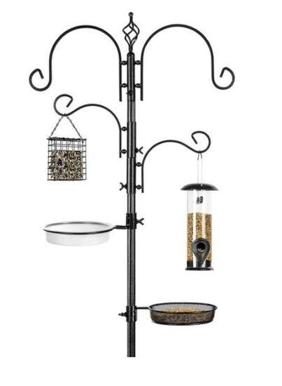 "91"" 4-Hook Bird Feeding Station, Steel Multi-Feeder Stand w/ 2 Bird Feeders"