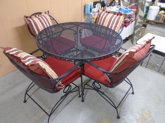 Round Wrought Iron Patio Table and 4 Chairs w/Cushions