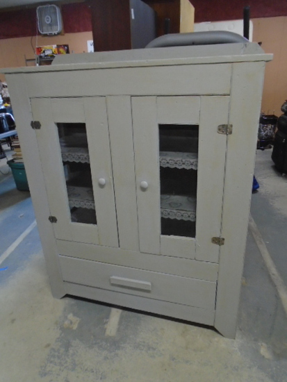 Large Vintage Painted Pie Safe w/ Drawer in Bottom