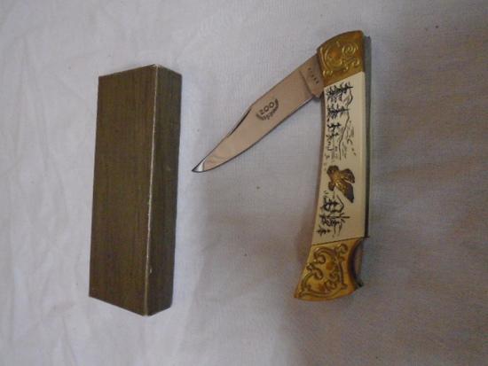 Brass Bolster Lock Blade Pocket Knife w/Box