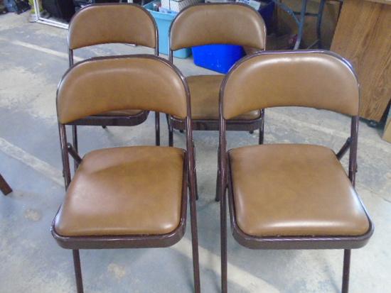 Set of (4) Like New Padded Steel Folding Chairs