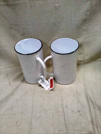 Pair of ThirstyStone White Metal Pitchers w/Black Speckles