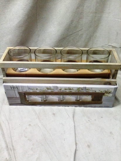 Heritage Home Grey Wood Candle Caddy