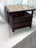 Outdoor Wicker Patio Side Table Accent Furniture w/ Umbrella Hole