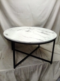 Round Coffee Table w/ Faux Marble Top, Metal Frame - 36in